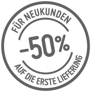 Neukundenrabatt 50 Prozent