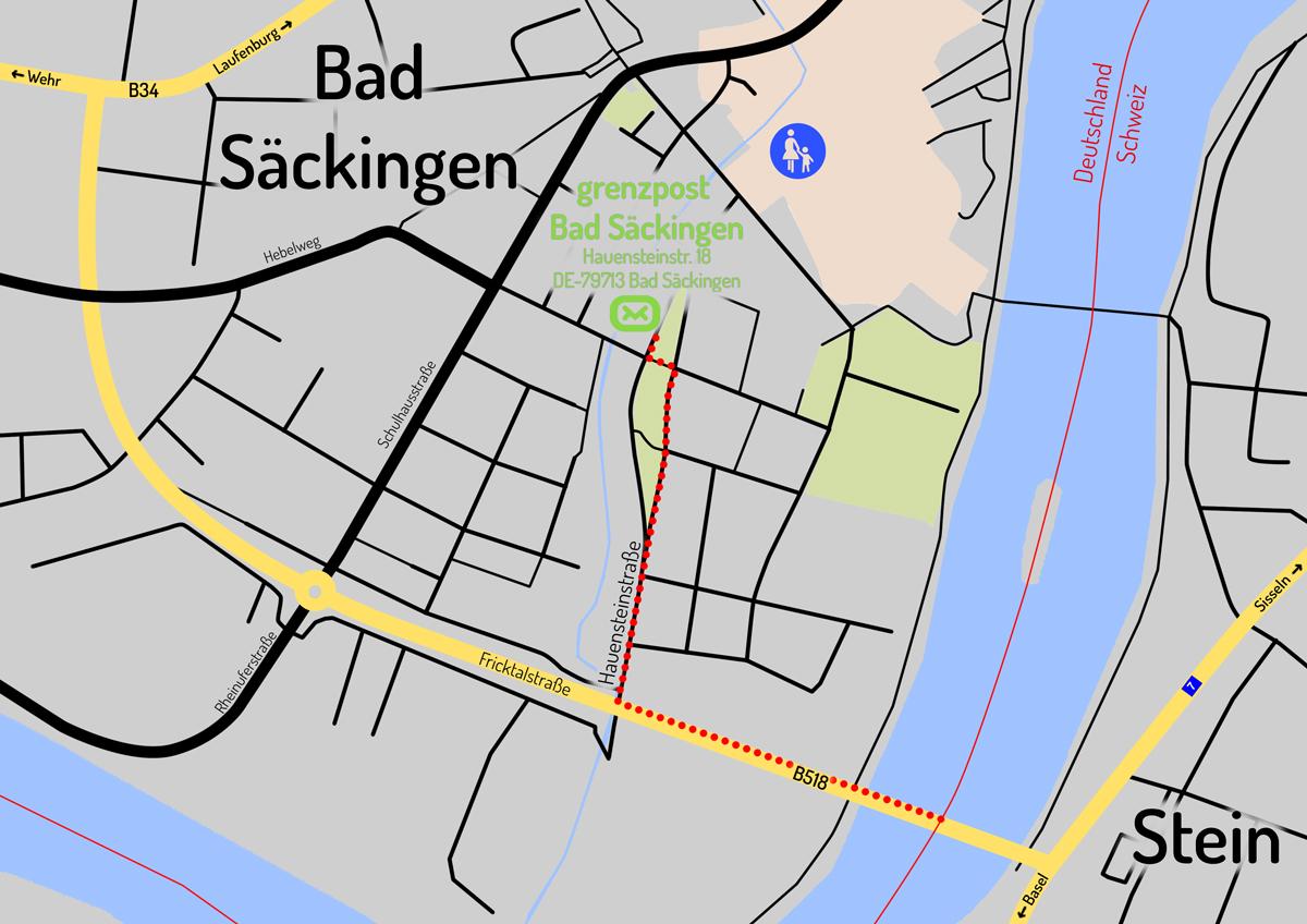Lageplan der Lieferadresse in Bad Säckingen