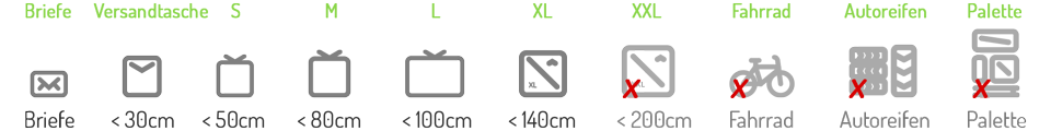 Icons Paketgrößen Gottmadingen