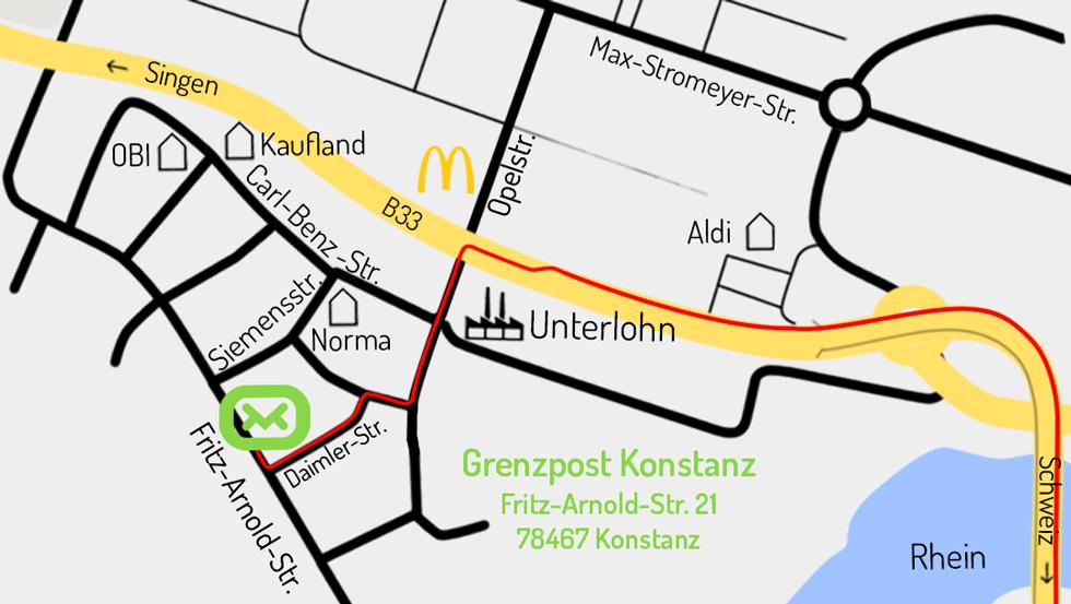 Lageplan grenzpost Konstanz