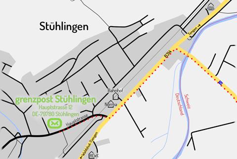 Lageplan Grenzpost Stühlingen