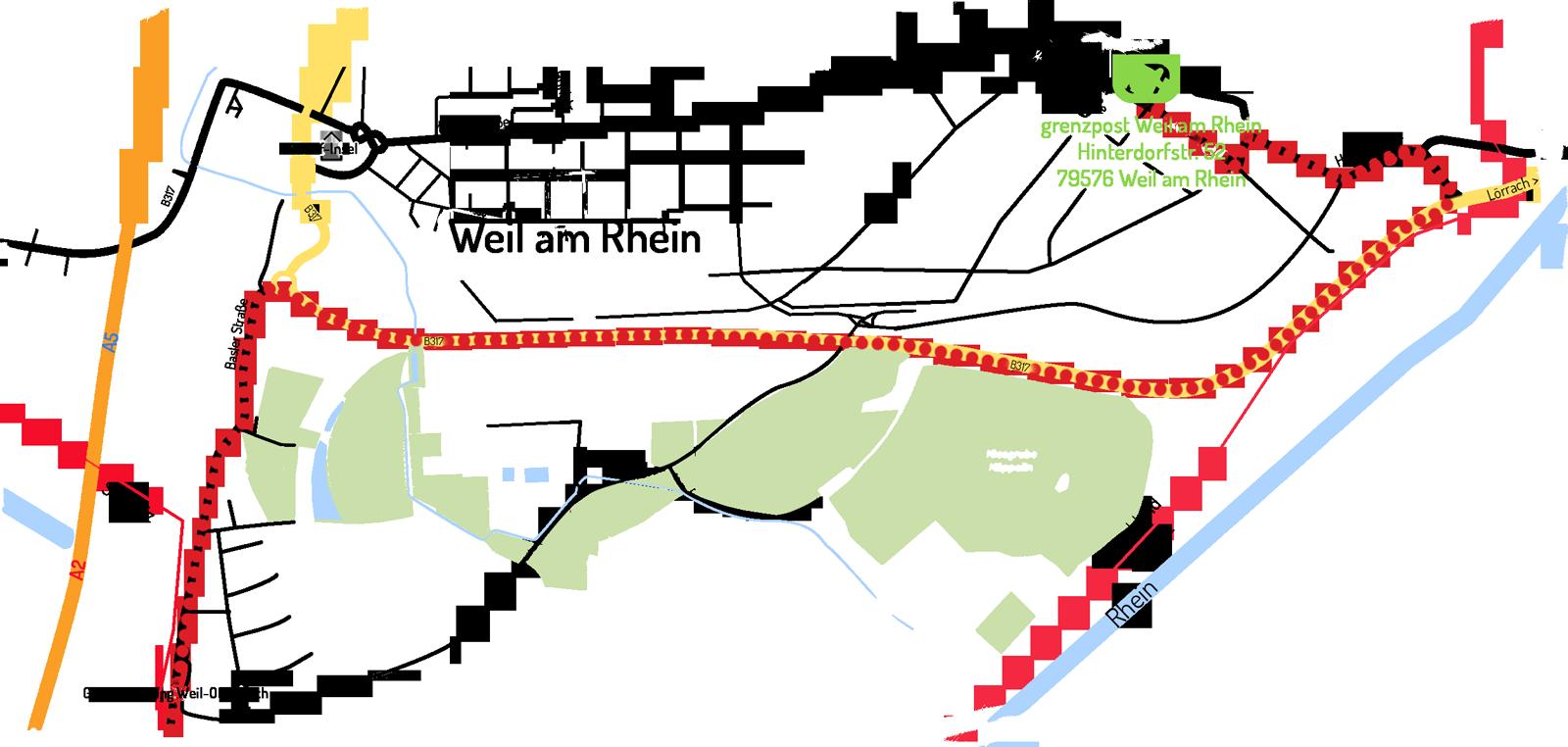 Lageplan Grenzpost Weil am Rhein